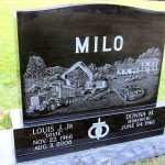 Etched Homestead of Milo Enterprises, Milwaukee Cemetery, click to enlarge and again to maximize